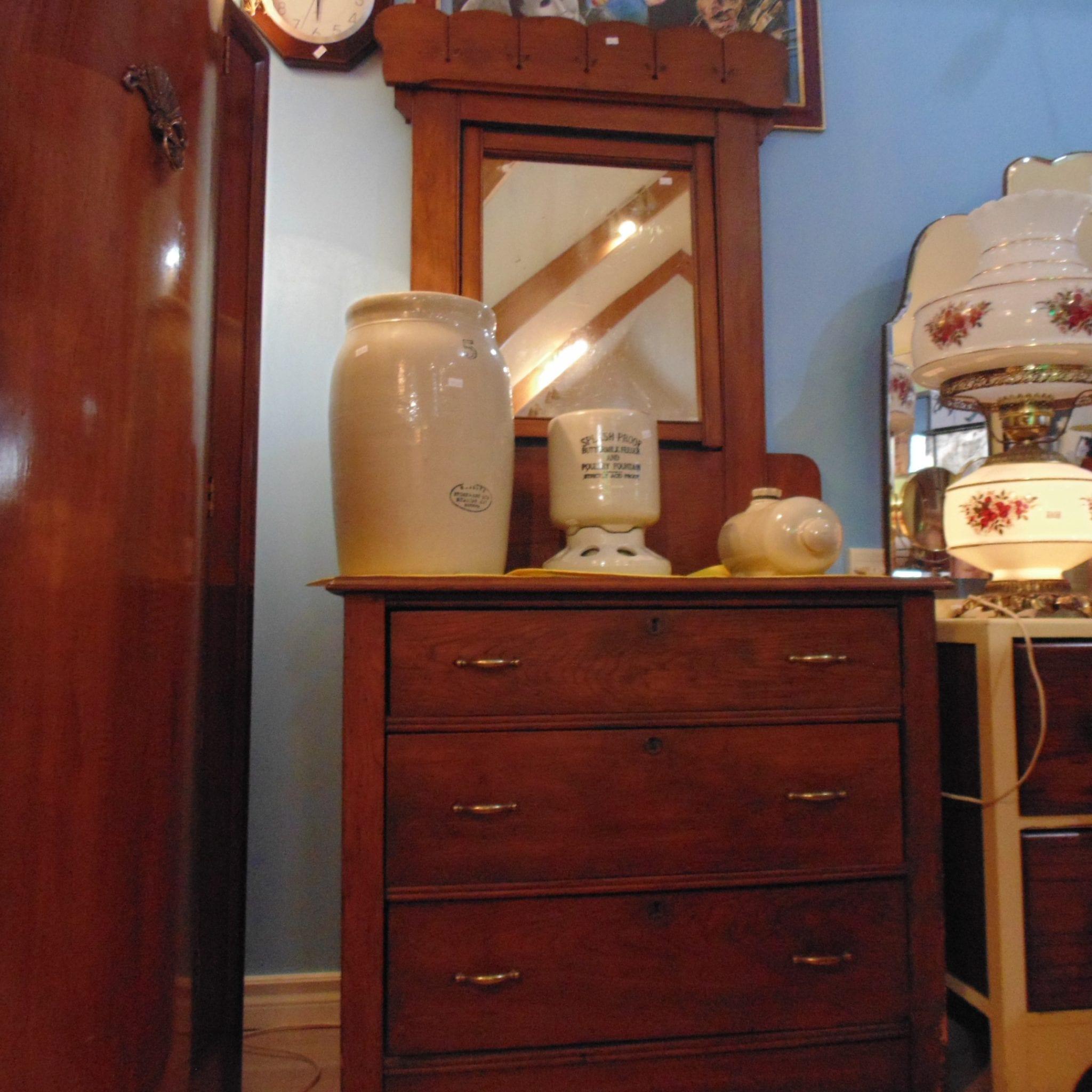 Antique 3 Drawer Swivel Mirror Dresser Liquidation House